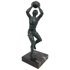 Bronze Sculpture Basketball Sportsman, Art Deco, France, 1930s