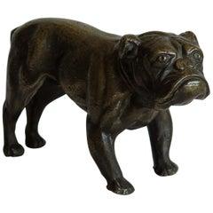Bronze Sculpture British Bulldog Good Detail and Patina, circa 1920