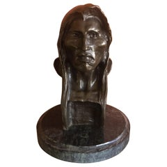 """Bronze Sculpture / Bust on Marble Base """"The Savage"""" by Frederic Remington"""