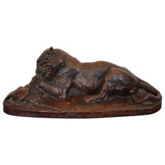 "Bronze Sculpture by Barye ""Lion Eating Antelope"" Signed 19th Century"
