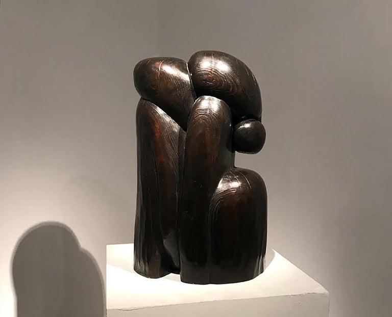 """Wang Keping (China, B.1949)  COUPLE Inscribed """"?K"""" and numbered """"5/8"""" Bronze (hammered with patina) sculpture 54 x 30 x 34 cm 1999  From the essence of natural surfaces and textures, which the artist always implies the essence to his"""