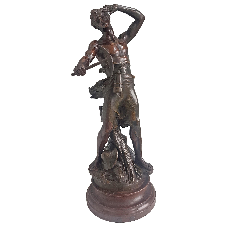 Bronze Sculpture Depicting a Miner Signed by Jean-Baptiste Germain