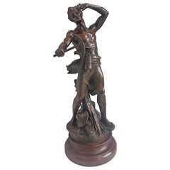 Bronze Sculpture Depicting a Miner Signed by Jean-Baptiste Germain