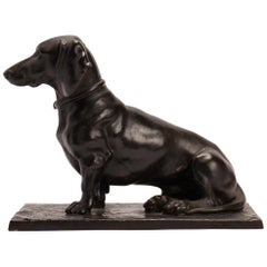 Bronze Sculpture Depicting a Seating Dachshund, Germany 1890