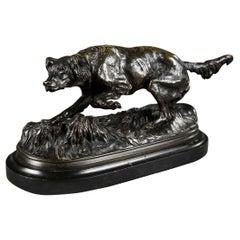 Bronze Sculpture, Dog on a Terrace, Signed Pierre-Jules Mêne