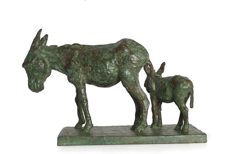 An outstanding modernist representation of this curious creature and its young foal, the impressionistic nature of the casting leaves the surface so rich with texture and while the adherence to anatomical accuracy is loosely maintained there is a