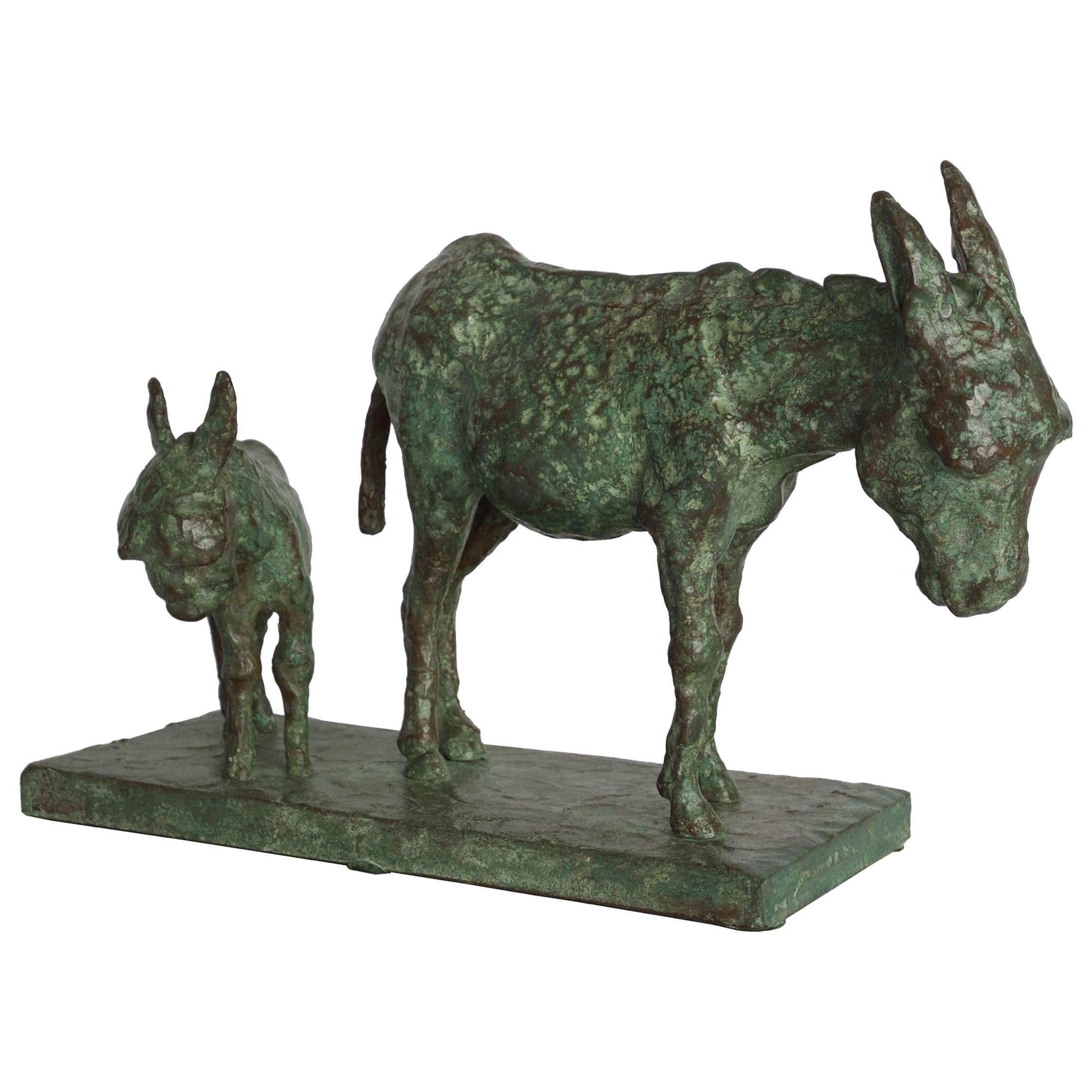 """Bronze Sculpture Group """"Donkey and Foal"""" by Carl Lewis Pappe"""