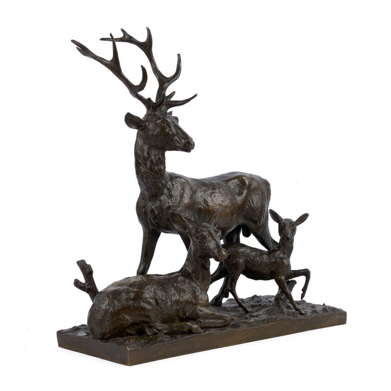 A finely executed lifetime cast depicting a Family of Deer, the work is immediately recognizable as the product of Fratin's vivid imagination. The length of each deer's body in this peaceful group is beautifully textured and chaotic, Fratin's