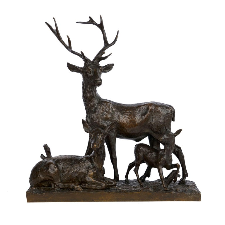 "French Bronze Sculpture Group ""Family of Deer"" by Christophe Fratin & Debraux Foundry For Sale"