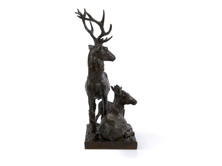 "Bronze Sculpture Group ""Family of Deer"" by Christophe Fratin & Debraux Foundry In Good Condition For Sale In Shippensburg, PA"