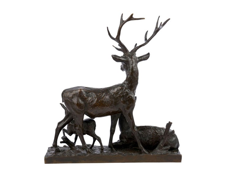 "19th Century Bronze Sculpture Group ""Family of Deer"" by Christophe Fratin & Debraux Foundry For Sale"