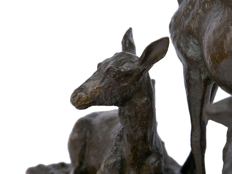 "Bronze Sculpture Group ""Family of Deer"" by Christophe Fratin & Debraux Foundry For Sale 4"