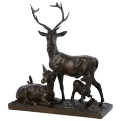 "Bronze Sculpture Group ""Family of Deer"" by Christophe Fratin & Debraux Foundry"