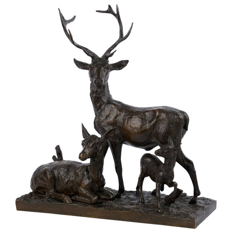 "Bronze Sculpture Group ""Family of Deer"" by Christophe Fratin & Debraux Foundry For Sale"
