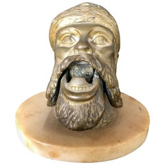 Bronze Sculpture Head Cigar Cutter on Marble Base, Tobacco Collectibles