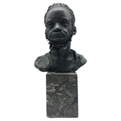 "Bronze Sculpture ""Head of an African Man"" Signed A. Neiviller"