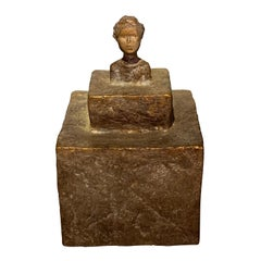 Bust Of A Woman Sculpture, Textured Bronze, India, Contemporary