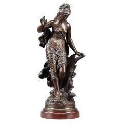 """Bronze Sculpture, """"La Baigneuse Aux Roseaux"""", Signed Auguste Moreau"""