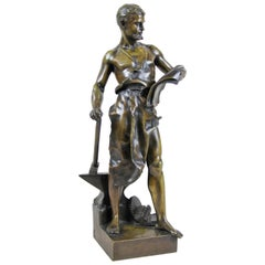 "Bronze Sculpture ""Le Forgeron"" by J.B. Germain, France, circa 1900"