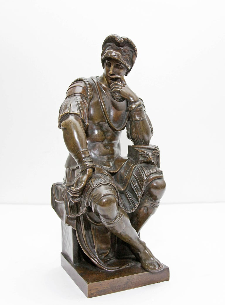 Bronze sculpture of Lorenzo de Medici after Michelangelo. Great quality with rich patina.