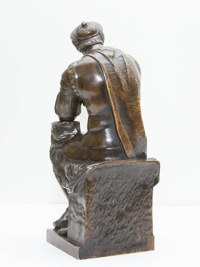 Bronze Sculpture Lorenzo De Medici after Michelangelo 19th Century Grand Tour In Good Condition For Sale In Rochester, NY