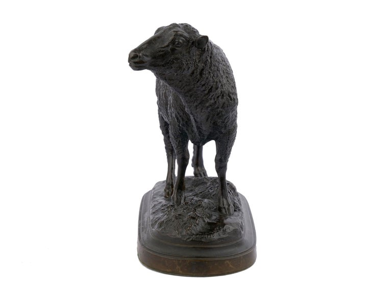 "19th Century Bronze Sculpture ""Merino Ewe"" by Isidore Bonheur & Peyrol Foundry For Sale"