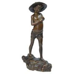 Bronze Sculpture Motive Fisherman