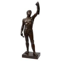 Bronze Sculpture of a Gladiator by French Sculptor Emile Guillemin, 1841-1907