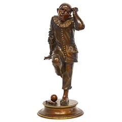 Bronze Sculpture of a Posing Jester or Harlequin by French Sculptor G. Gueyton