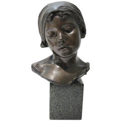 Bronze Sculpture of a Young Girl by Edouard Rossi