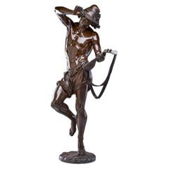 Bronze Sculpture of a Young Man with Lute by Albert-Ernest Carrier Belleuse