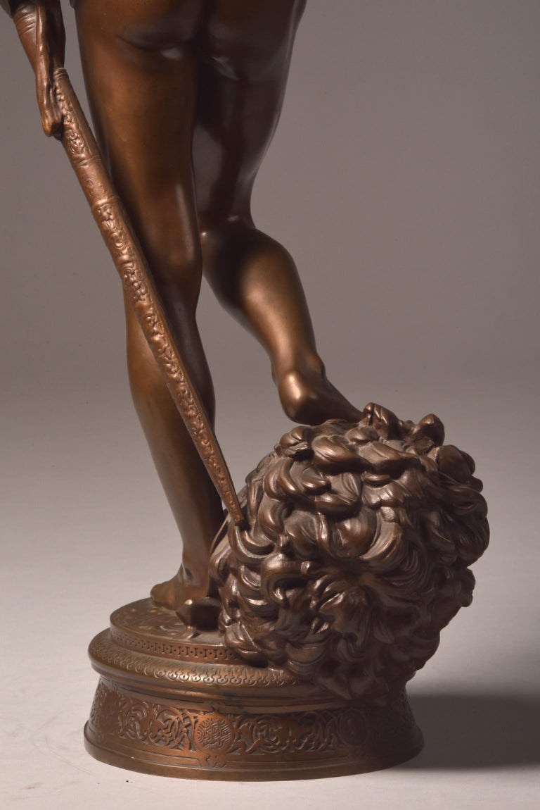 Bronze Sculpture of David, A. Mercie, F. Barbedienne, 1870 For Sale 4