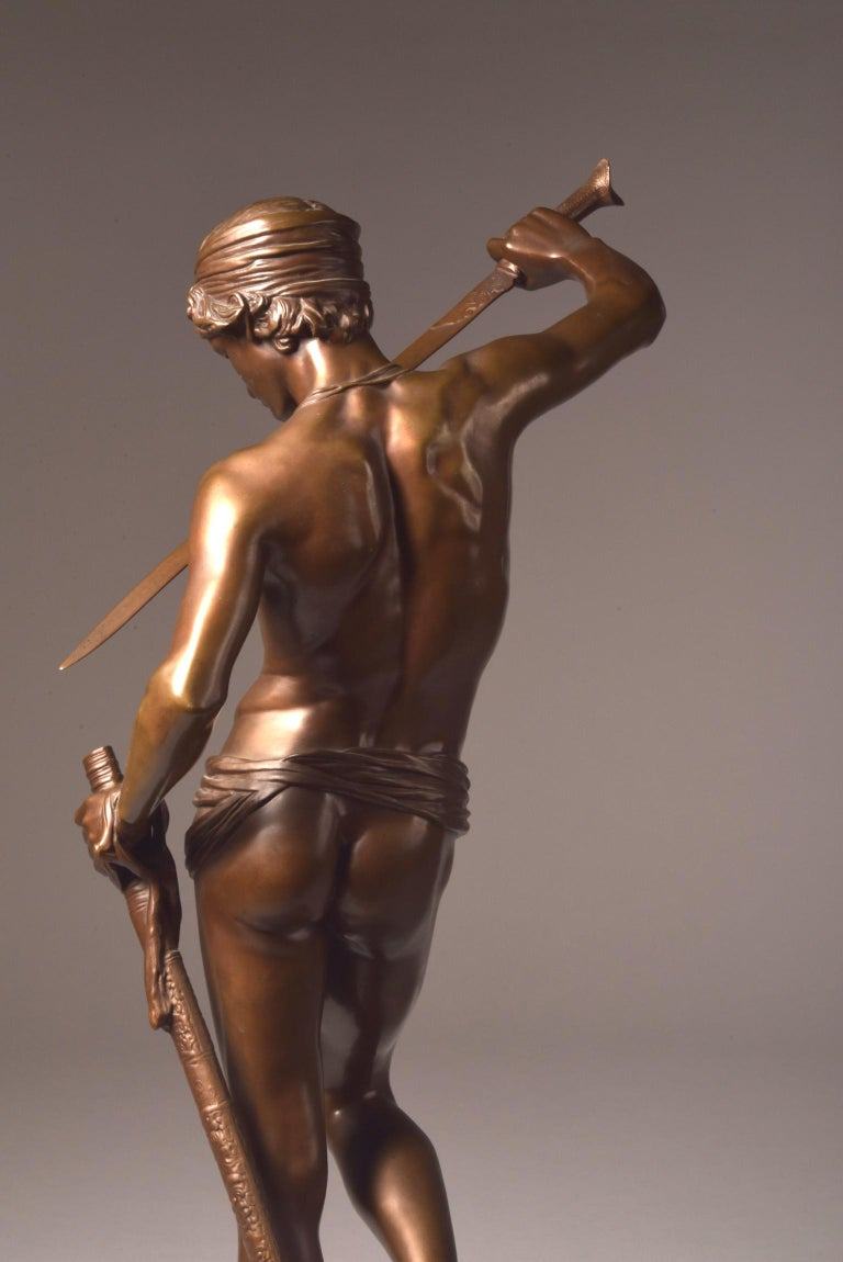 Bronze Sculpture of David, A. Mercie, F. Barbedienne, 1870 For Sale 5