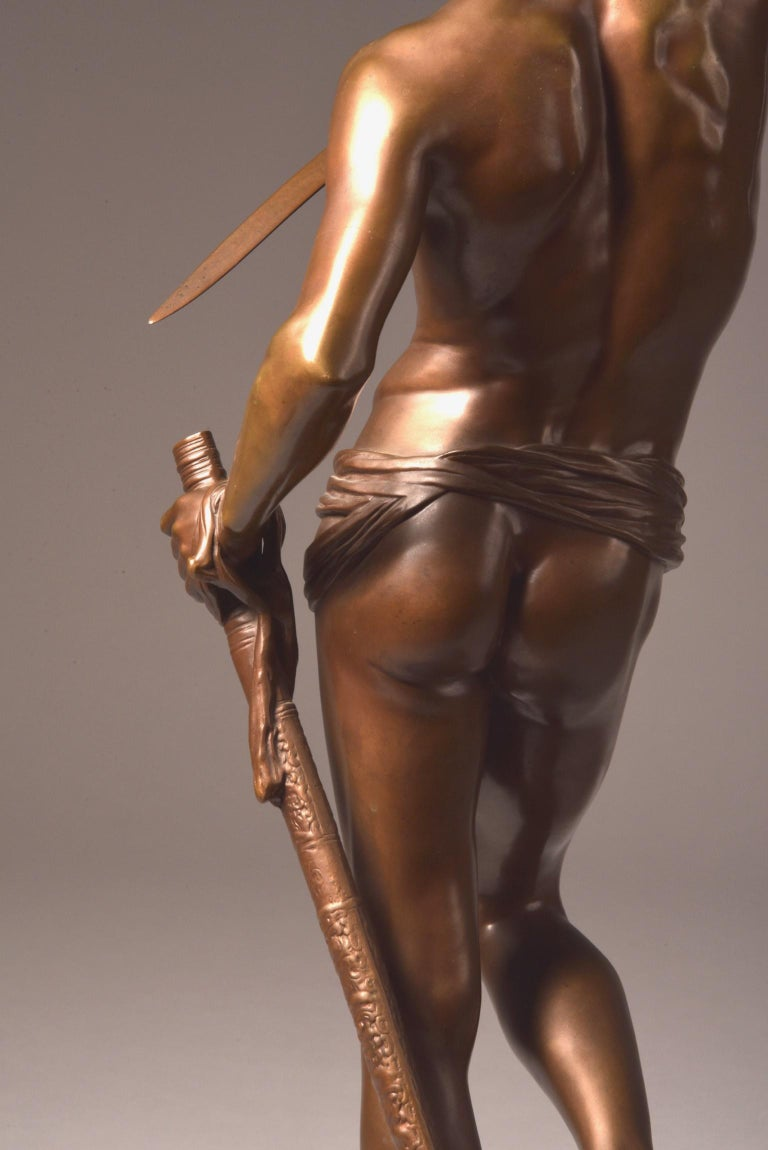 Bronze Sculpture of David, A. Mercie, F. Barbedienne, 1870 For Sale 6