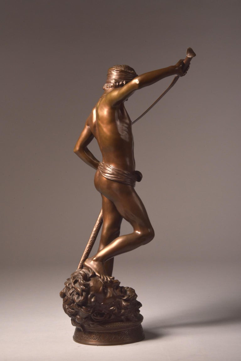 Bronze Sculpture of David, A. Mercie, F. Barbedienne, 1870 For Sale 7