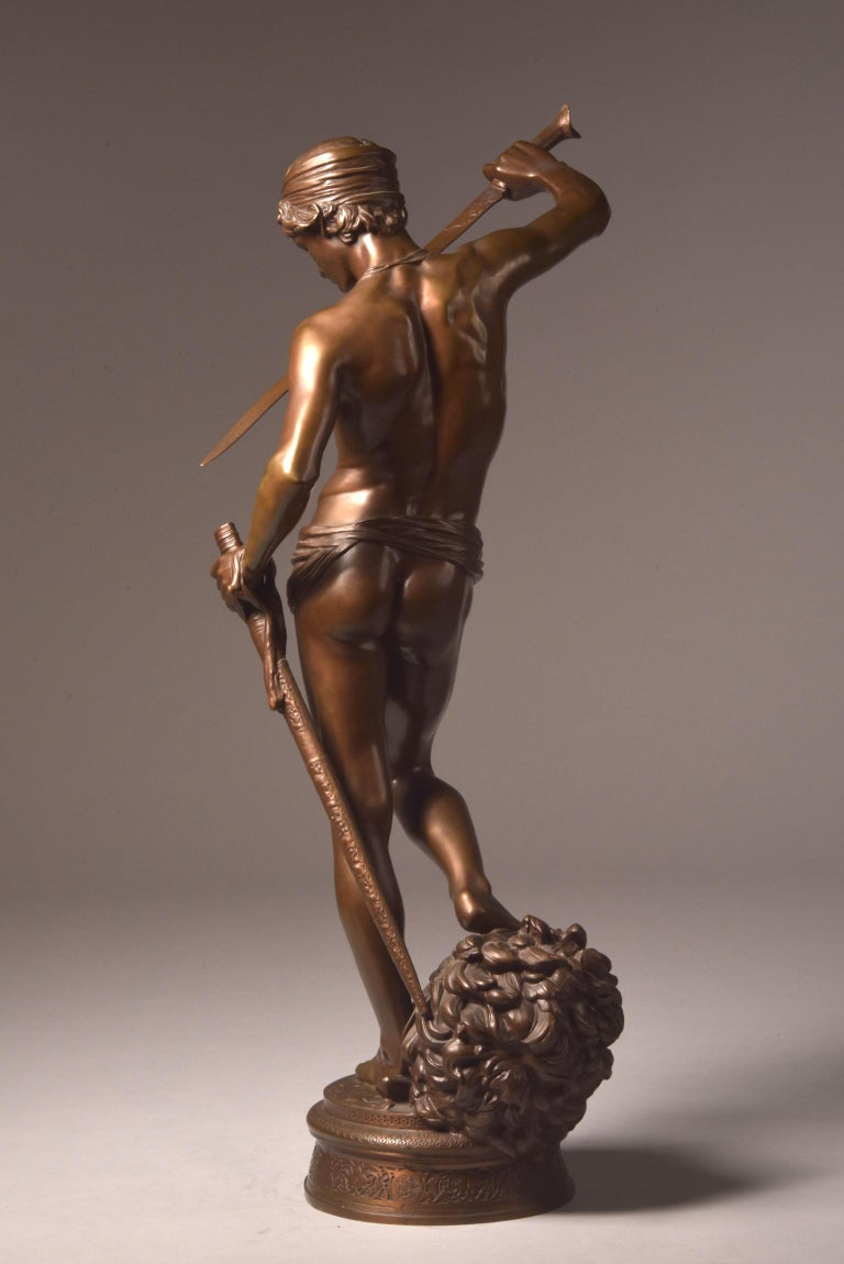 In very good condition beautiful bronze sculpture of David Vainqueur (75 cm).