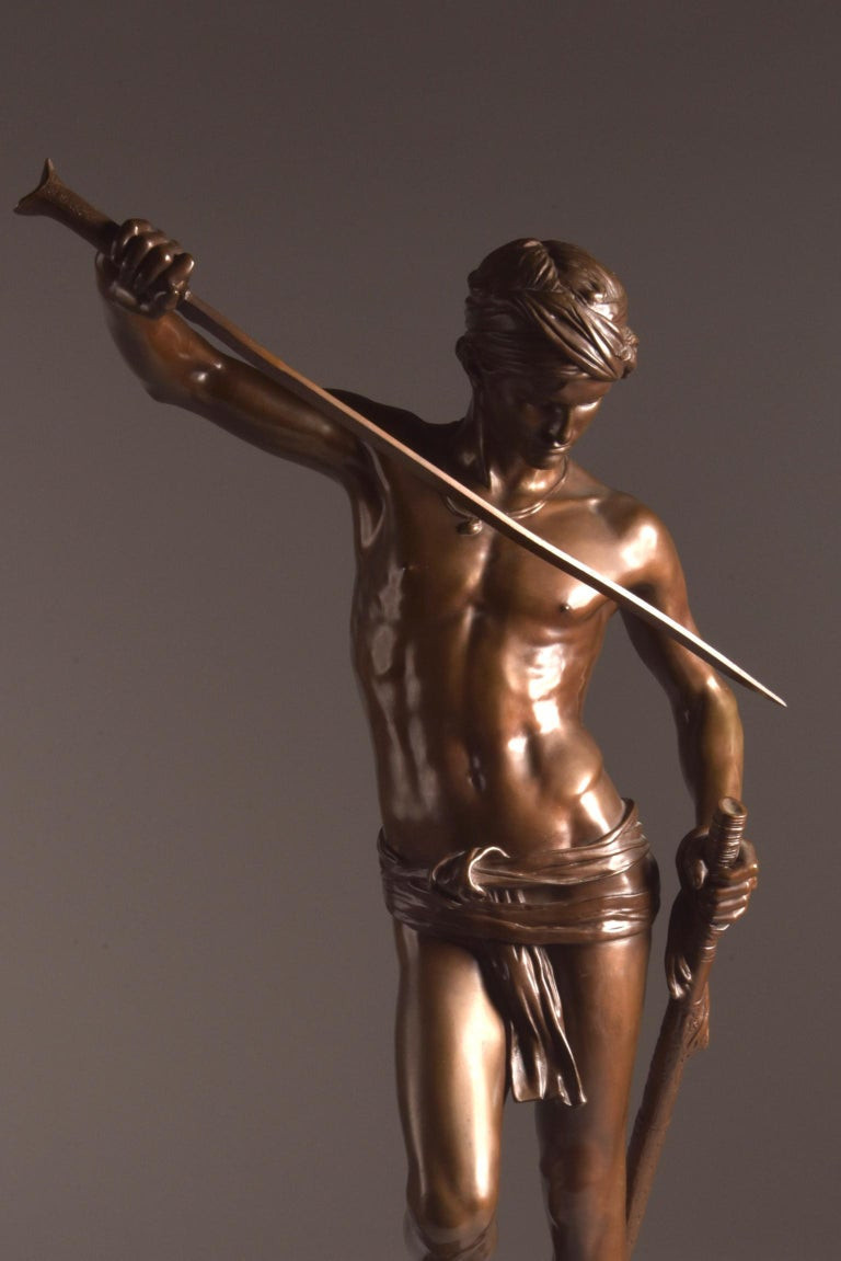 Neoclassical Bronze Sculpture of David, A. Mercie, F. Barbedienne, 1870 For Sale