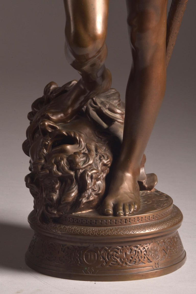 French Bronze Sculpture of David, A. Mercie, F. Barbedienne, 1870 For Sale