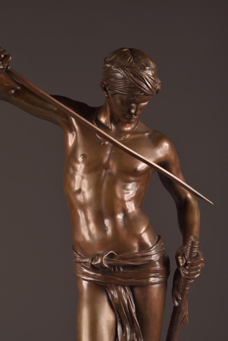 Cold-Painted Bronze Sculpture of David, A. Mercie, F. Barbedienne, 1870 For Sale
