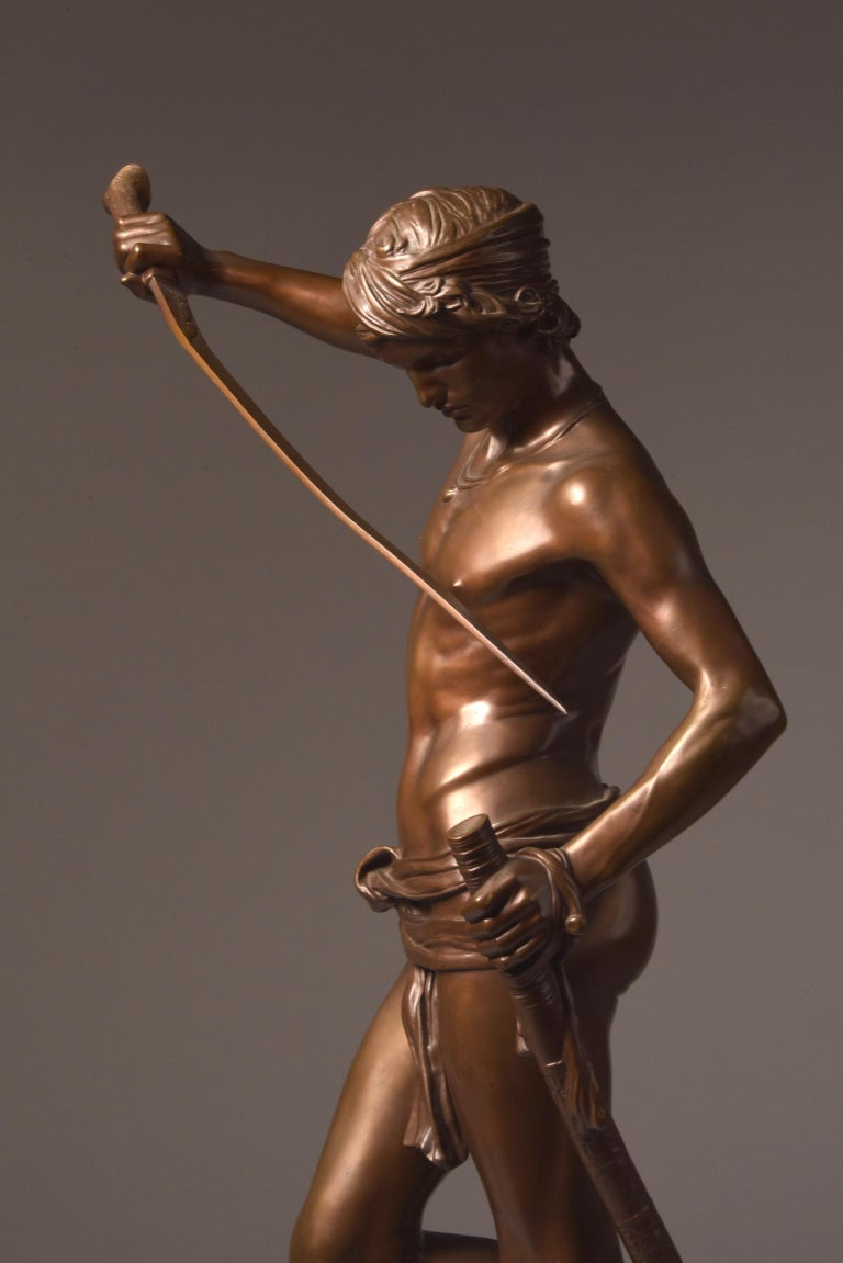 Bronze Sculpture of David, A. Mercie, F. Barbedienne, 1870 In Good Condition For Sale In Ulestraten, Limburg