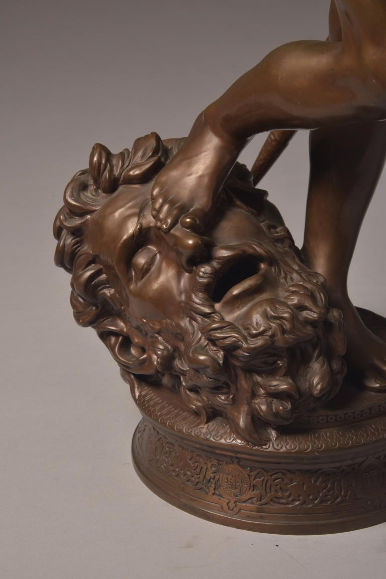 19th Century Bronze Sculpture of David, A. Mercie, F. Barbedienne, 1870 For Sale