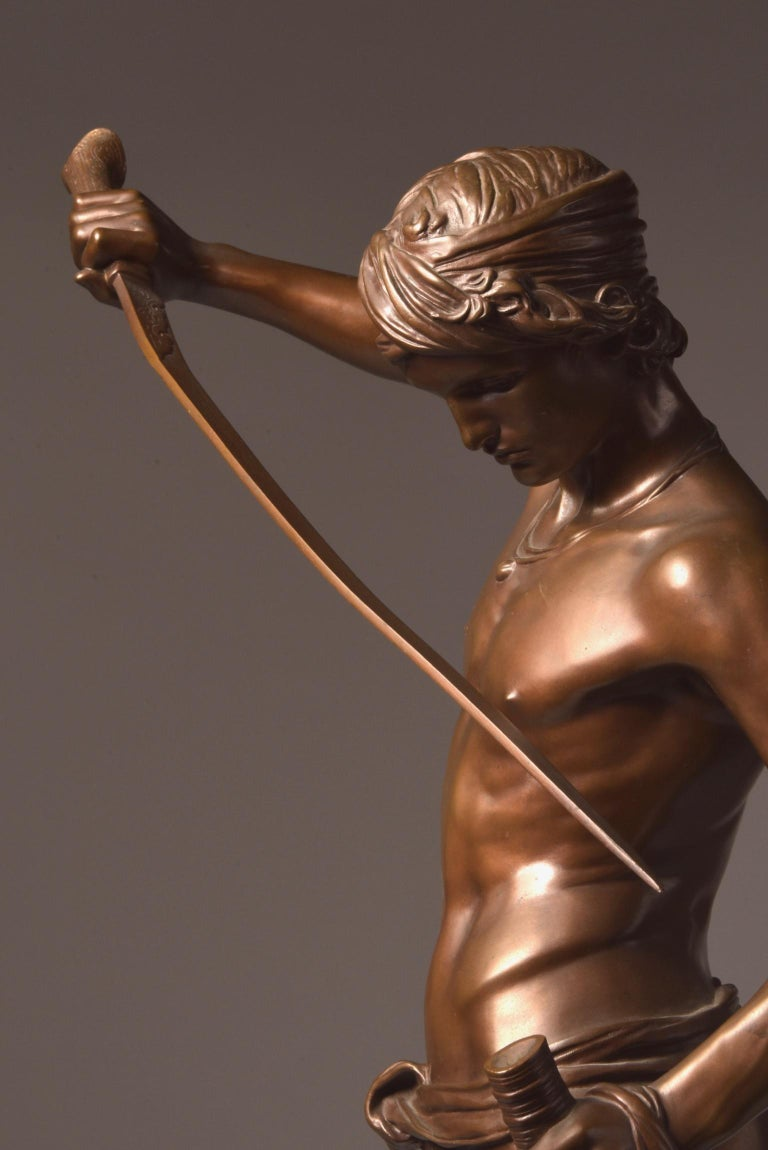Bronze Sculpture of David, A. Mercie, F. Barbedienne, 1870 For Sale 1