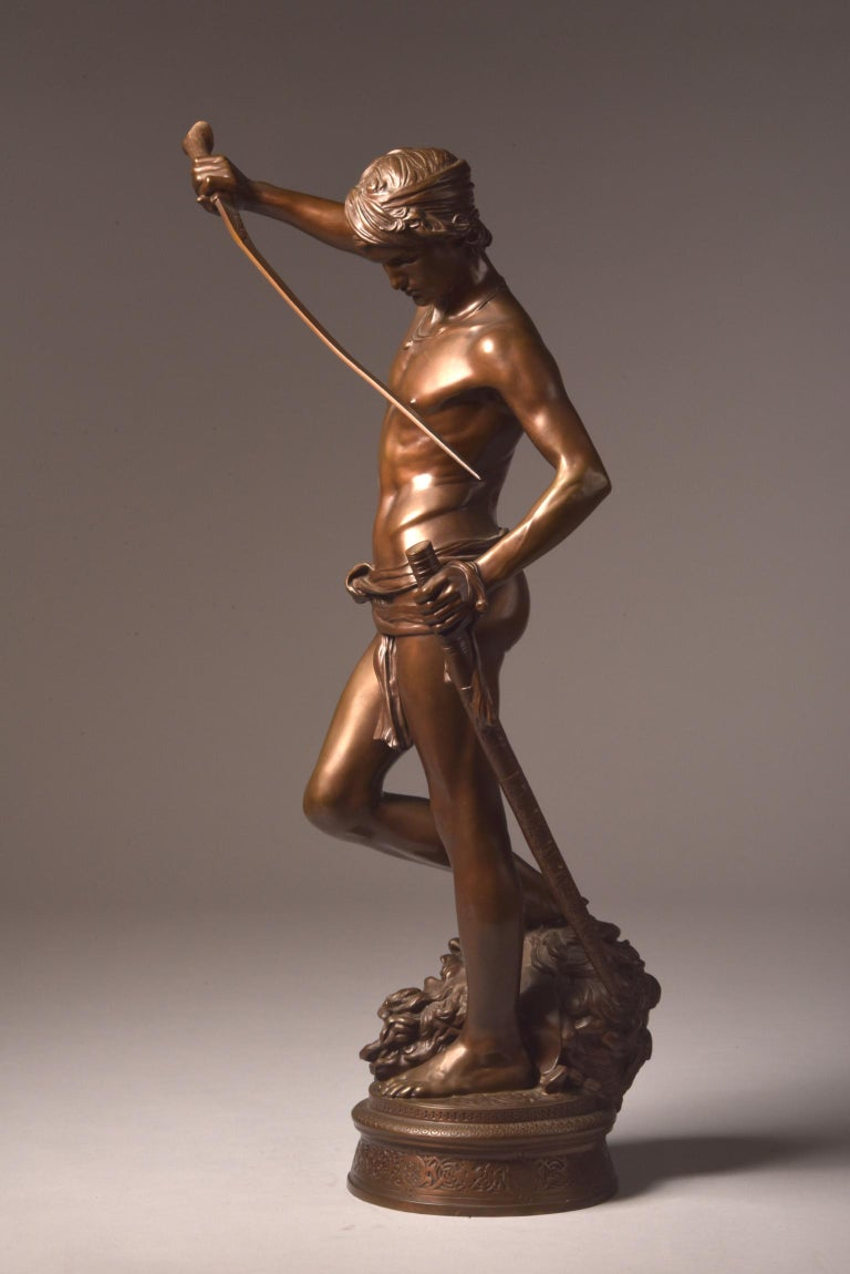 Bronze Sculpture of David, A. Mercie, F. Barbedienne, 1870 For Sale 2