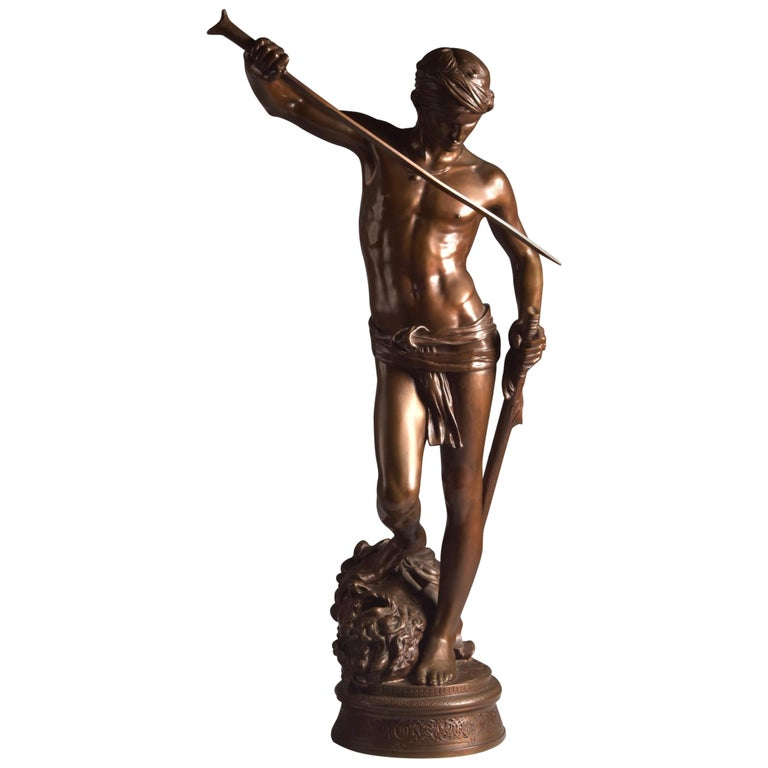 Bronze Sculpture of David, A. Mercie, F. Barbedienne, 1870 For Sale