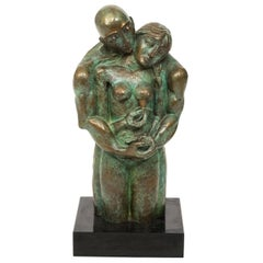Bronze Sculpture of Embracing Couple by Yuroz Signed and Numbered