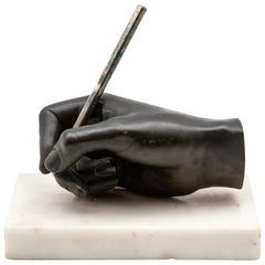 Bronze Sculpture of Hand on Marble Base