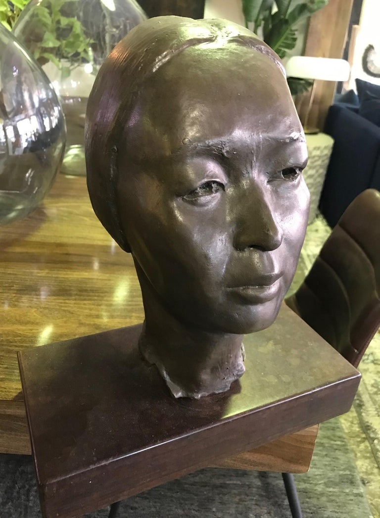 Showa Bronze Sculpture of Head Bust of Japanese Woman in the Style of Isamu Noguchi For Sale