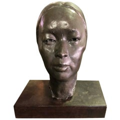 Bronze Sculpture of Head Bust of Japanese Woman in the Style of Isamu Noguchi