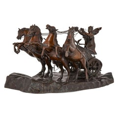 Bronze Sculpture of Horse Drawn Chariot by Tommaso Campaiola