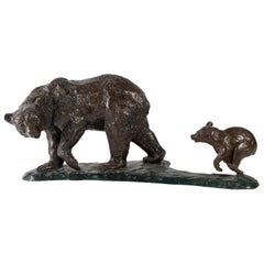 Bronze Sculpture of Jean Vassil, Contemporary Art, Bear and his Small